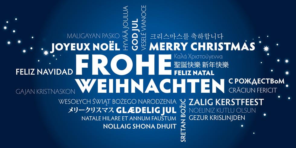 blaue Weihnachtskarte Frohe Weihnachten bersetzt in viele Sprachen