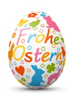 Colored 3D Vector - Happy Easter - Egg with Holiday Season Symbols. German Language.